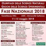 Programma delle Olimpiadi delle Scienze Naturali e Giochi delle Scienze Sperimentali 2018