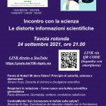 """Incontro con la Scienza: tavola rotonda online """"Le distorte informazioni scientifiche"""""""